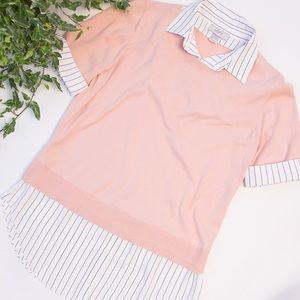 LOFT Outlet Layered Stripe Sweater Blouse Pink S